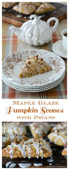Maple Glaze Pumpkin Scones with Pecans | homeiswheretheboatis.net #tea #fall #recipe