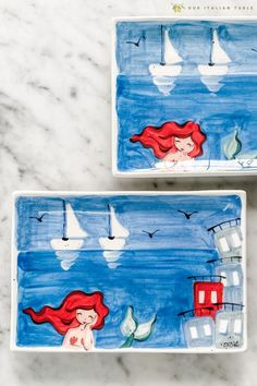 Inspired by the Sicilian seaside scenes, these handpainted antipasto plates are perfect for serving a bit of Italy alongside your antipasti. Handpainted by an Italian artisan, choose from mermaids and sailboats or whimsical fish. #antipasti #antipasto #antipastiplates #antipastoplates #decorativeplates #ceramicplates #handpaintedplates #seadecor #beachdecor #oceandecor #coastaldecor #nautical #nauticaldecor #blueplates #italianplates #italiandecor #italianhome #italiankitchen