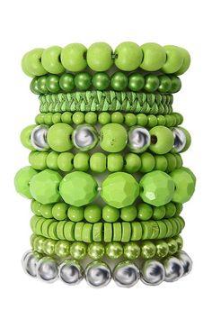 Damen Armband von Pieces Ideale Passform durch elastische B�nder Bestehend aus unterschiedlichen Armb�ndern Teilweise aus Holzpe