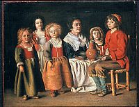 WOMAN & CHILDREN. Oil on copper by Antoine Le Nain, 1642.