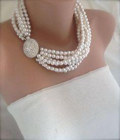 Pearl necklace chunky Layered Ivory by HMbySemraAscioglu