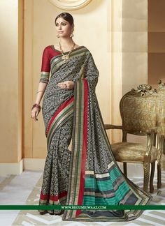Buy Black Colour Embroidered Saree Online at begumriwaaz.com