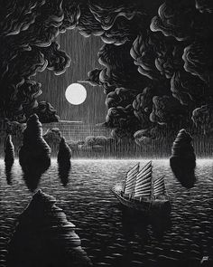 Travel at Night. Pencil and Paint Pen Drawings. Click the image, for more art by Justin Estcourt. Black White Art, Black And White Drawing, Black And White Illustration, Dark Drawings, Pen Drawings, Contour Drawings, Charcoal Drawings, Drawing Faces, Black Paper Drawing