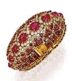 18K gold ruby & diamond bracelet ~ Van Cleef Arpels ~ 1954