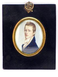 FINE ANTIQUE 19thC PORTRAIT MINIATURE OF A GENTLEMAN, R. BAYNE IN EBONISED FRAME