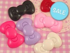 This listing is for 6 large extra cute mixed color resin bow cabochons. Perfect for #kawaii #crafts. #Decoden #Jewelry