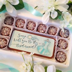 Personalized Bridal Party Proposal. A unique and beautiful way to ask your best friends to be a part of your wedding. Colorful edible bridesmaid design is like giving your girlfriends a card and chocolates, and even has sparkling sugar bling. By Diamond Chocolates