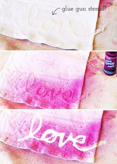 Add positive affirmations to a tee shirt, beach towel or tote using hot glue stencils. #DIY