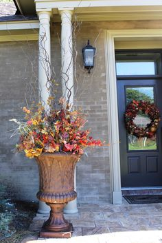 Beautiful fall urn w natural elements