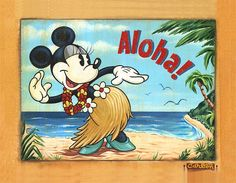 """Hawaiian Hula"" by Trevor Carlton - Original Artwork on Canvas, 26x33.5.  #Disney #MinnieMouse #DisneyFineArt #TrevorCarlton"