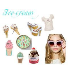 """""""Ice cream"""" by onlinegirl-diii on Polyvore featuring interior, interiors, interior design, home, home decor, interior decorating, Karl Lagerfeld, Kate Spade, A.J. Morgan and icecreamtreats"""