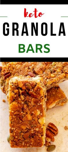 You are going to go wild for this easy to make Keto Granola Bars .  They are the BEST easy low carb snack, and they keep well for at least a week.  #kickingcarbs #keto #ketosnack #lowcarb Best Low Carb Snacks, Keto Snacks, Snack Recipes, Dinner Recipes, Keto Granola, Granola Bars, On The Go Snacks, Lchf Diet, Best Chocolate