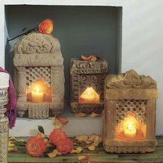 Stone lamps- (Indian sandsone temples)