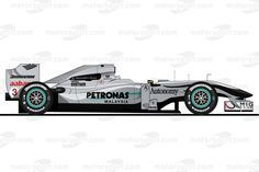 The Mercedes W01 driven by Michael Schumacher in 2010