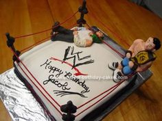 Homemade WWE Wrestling Birthday Cake: This WWE Wrestling Birthday Cake is my first time making figures and I was so nervous and made a lot of mistakes but that makes it unique I guess. But