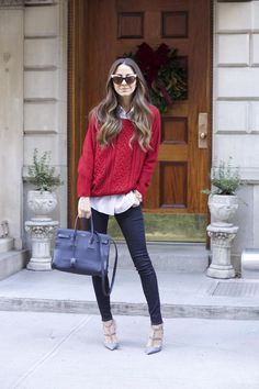 Jeans: Parker Smith Jeans | Shoes: Valentino | Shirt: Elizabeth and James | Sweater: Lovers & Friends, similar | Sunnies: Wildfox | Bag: Saint Laurent