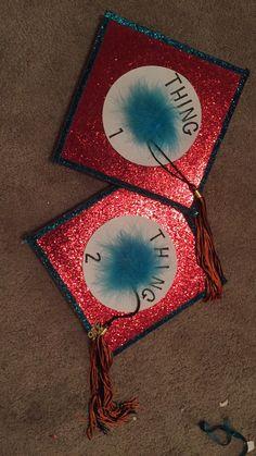 Dr. Seuss Thing 1 Thing 2 graduation caps! Graduation Cap Designs, Graduation Cap Decoration, Graduation Caps, High School Graduation, Graduation Pictures, Graduation Ideas, Grad Hat, Cap Decorations, Thing 1 Thing 2