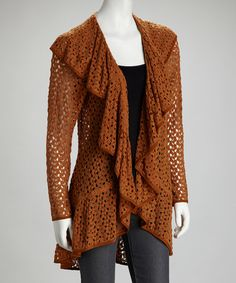 Take a look at this Pumpkin Ruffle Open Jacket by Anthracite by Muse on #zulily today!