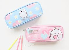 Kawaii light blue and pink molang cases! Perfect for school for kids! Stationary Store, Stationary School, Cute Stationary, Pencil Bags, Pencil Pouch, Stickers Kawaii, Cute Pencil Case, Ciel Nocturne, Kawaii Stationery