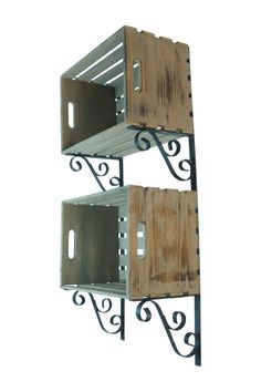 Metal & Wood Crate Wall Shelf. Love the addition of pretty wall corbels!