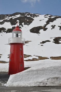 Lighthouse in the snow - The Oberalp pass, 2,046 metres above sea level, which links the central Swiss tourist resort of Andermatt with the Surselva region of canton Graubünden, lies close to the source of the Rhine.