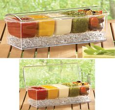 Outdoor Party Icy Condiment Server with Lid - Backyard party ideas