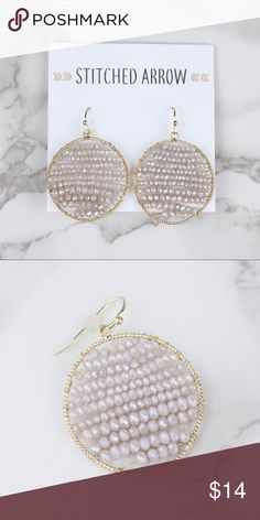 """Gold & Natural Pink Wire Bead Circle Earrings { Gold & Natural (Slight pink color) Bead Circle Earrings } • Matching necklace sold separate. Bundle the 2 for a good deal! • Approx. 1.50"""" in length by 1.25"""" wide • Fish hook back • Fast Shipping! Usually ships same or next business day! Jewelry Earrings"""