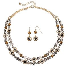 Beaded Double Strand Necklace & Drop Earring Set