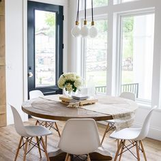 Photo Jobs At Home - Home Tour- Gorgeous White Kitchen - If you want to enjoy the good life: making money in the comfort of your own home with just your camera and laptop, then this is for you! Grace Home, Dining Room Table, Circle Dining Table, Round Wooden Dining Table, Round Table And Chairs, Wood Tables, Rustic Table, Dining Chairs, Home Furnishings