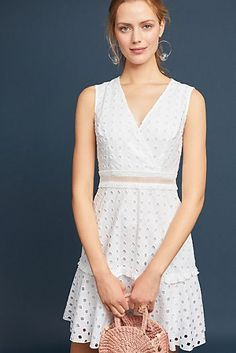 Esther Heesch for Anthropologie Spring/Summer 2018 May 2018 🌺🌸🌼🌺🌸🌼🌺🌸🌼 Fashion Models, Fashion Outfits, Women's Fashion, Rehearsal Dinner Dresses, Little White Dresses, Eyelet Dress, Cotton Dresses, Sleeveless Dresses, Special Occasion Dresses