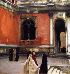 John Singer Sargent (1856-1925),Campo behind the Scuola di San Rocco(aka An Inner Courtyard of La Scuola di San Rocco, Venice), 1882. Priv...