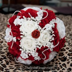 Red and white wedding bouquet with pearls baby's breath and french knot handle with pearl pins, valentine's day or peppermint wedding theme