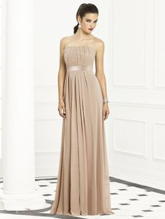 Can you imagine a lovely strapless gown for your bridesmaids? Dessy's After Six 6672 Bridesmaid dress is a glorious floor length creation that sighs with romance and enchantment! This strapless gown in lux chiffon has a winning neckline that shows tiny asymmetrical tucks and the look is very soft. #timelesstreasure