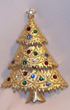 Eisenberg Ice Rhinestone Christmas Tree Pin Multi Colored Stones Signed | eBay
