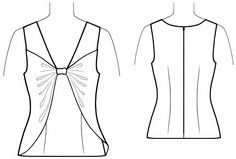 Top With Bow  - Sewing Pattern #5632. Made-to-measure sewing pattern from Lekala with free online download.