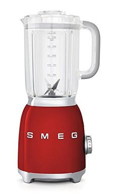 Smeg small appliances are built for style. The 50's retro style appliances will add a pop to any kitchen! With a die-cast aluminum powder coated body and backlit chrome knob, Smeg electric blenders are made to last and will never go out of style. 1.5 Lt/48 Oz/6 Cups Tritan BPA-Free Jug Safety lock when removing blender