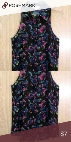 Blk button-dow top with an all-over floral print -Sheer -No flaws or defects Decree Tops