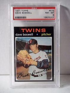 1971 Topps Dave Boswell PSA Graded NM-MT 8 Baseball Card #675 MLB Collectible…