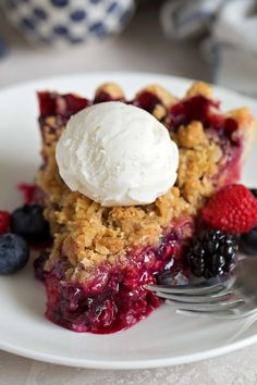 This Triple Berry Pie isn't only easy but is fresh and delicious! This fruity dessert has an amazing berry pie crumble on top and is perfect all year long.