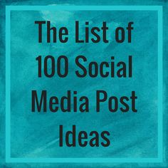 Many business people get stuck when trying to think of what to post on social media. So here's my comprehensive list of social media post ideas. Social Media List, Social Media Marketing, Internet Marketing, Facebook Business, Online Business, How To Use Facebook, Online Entrepreneur, Business Entrepreneur, Starting Your Own Business