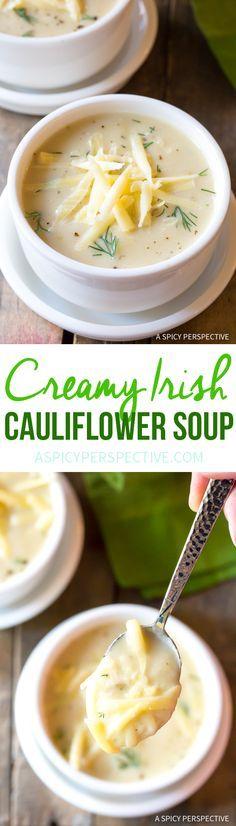 Irresistible Irish Creamy Cauliflower Soup Recipe for Saint Patrick's Day! via @spicyperspectiv