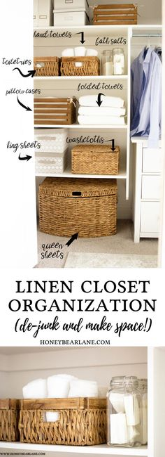 KonMari Your Linen Closet - Honeybear Lane Everyone is jumping on the KonMari bandwagon (Marie Kondo) and dejunking and decluttering, I started with my linen closet and couldn't love it more! Small Linen Closets, Bathroom Linen Closet, Closet Bedroom, Hall Closet, Bathroom Towels, Closet Space, Linen Closet Organization, Home Organisation, Bathroom Organization
