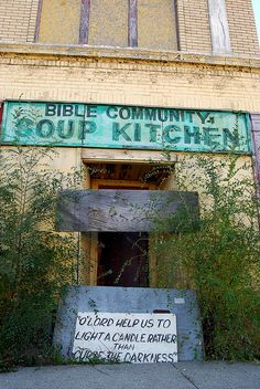 Abandoned Bible Community Soup Kitchen along Rosa Parks Boulevard in Detroit Abandoned Detroit, Abandoned Property, Abandoned Mansions, Old Buildings, Abandoned Buildings, Abandoned Places, Abandoned Amusement Parks, Soup Kitchen, Rosa Parks