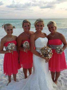 Coral Beach Bridesmaid Dresses - Wedding and Bridal Inspiration Beach Wedding Bridesmaids, Beach Bridesmaid Dresses, Beach Wedding Attire, Beach Dresses, Wedding Dresses, Wedding Beach, Beach Weddings, Destination Weddings, Future Mrs