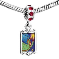 Pugster Ruby Red Swarovski Crystal Dangle Angel With Stars Photo Bead Silver Plated Bead Fits Pandora Charms Bracelet Pugster. $22.99. Color: Silver tone, red. Weight (gram): 3.9. Size (mm): 9.46*2.56*28.47. Metal: Metal, crystal
