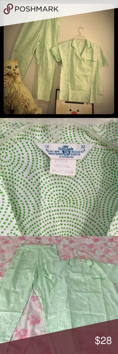 Vintage Deadstock two piece pajamas Deadstock 'Schrank' cotton 50s green and white pjs. These r so cute and retro! Cute button detail on the side of pants.  Want to be sipping tea in Palm Springs at poolside in these cuties! Tag says Sz 32 aka small. L 37 on pants. Smoke free, pet free home (dont mind Pete the cat, he is harmless). Vintage Intimates & Sleepwear Pajamas