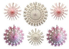 Pink and white large tissue paper snowflake decorations, made in the USA by Devra Party