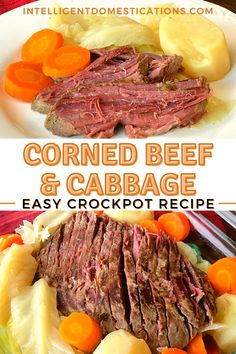 Corned Beef and Cabbage is not something we cook often but when we do it's fabulous! My recipe is simple with only six ingredients for this hearty one dish dinner. Make this meal for St. Patricks Day and be sure to serve it in the Fall and winter when we love those stick-to-the-ribs meals. #dinnerideas #crockpotrecipe #cornedbeef #stpatricksday