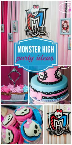A sweet and cute Monster High girl birthday party with a cool birthday cake and cupcakes!  See more party ideas at CatchMyParty.com!