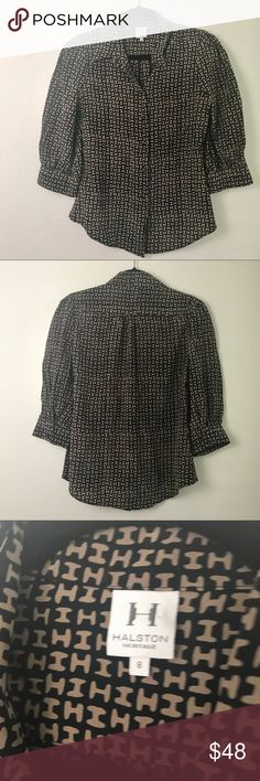 Halston Heritage H print logo silk top In excellent condition. It's been worn but there's no sign of wear or defect. Halston Heritage Tops Blouses
